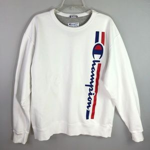 Champion White Oversized Logo Sweatshirt Large
